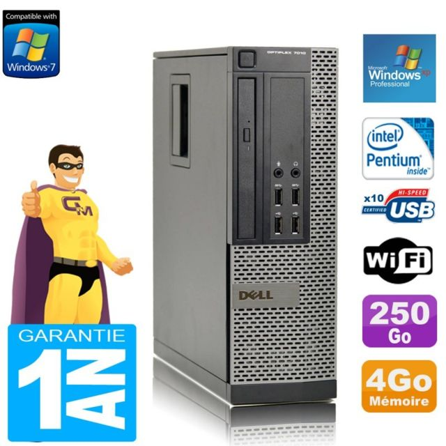 PC Fixe Dell PC DELL 7010 SFF Intel G840 RAM 4Go Disque Dur 250 Go DVD Wifi Windows XP Pro