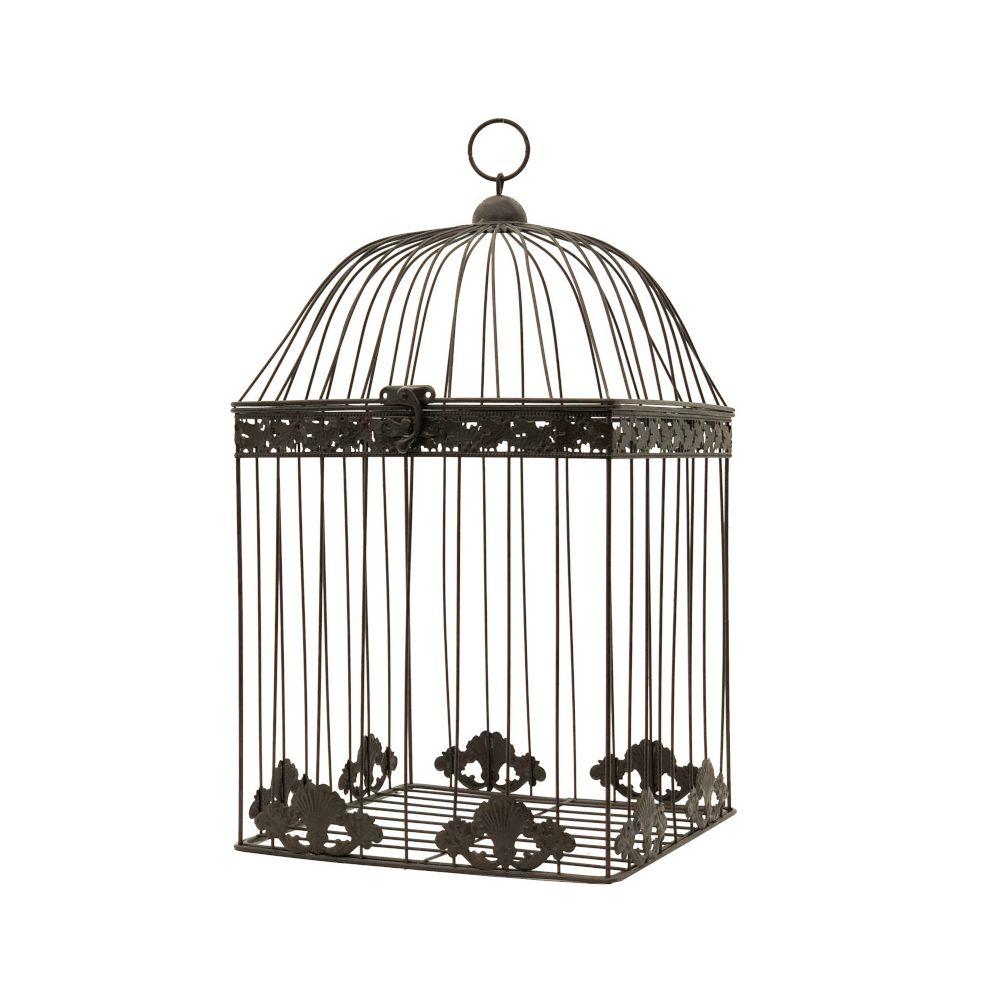L'Originale Deco Grande Cage Fer de Décoration Carré Marron 51 cm x 28 cm x 28 cm
