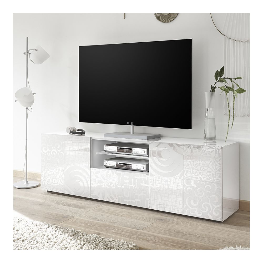 Kasalinea Grand meuble TV blanc laqué design NERINA