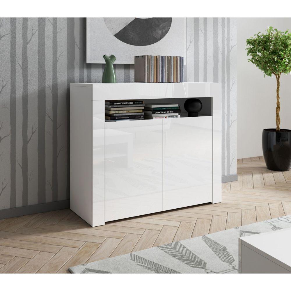 Baltic Meubles Meuble buffet blanc 2 portes - MOINSCHERCUISINE