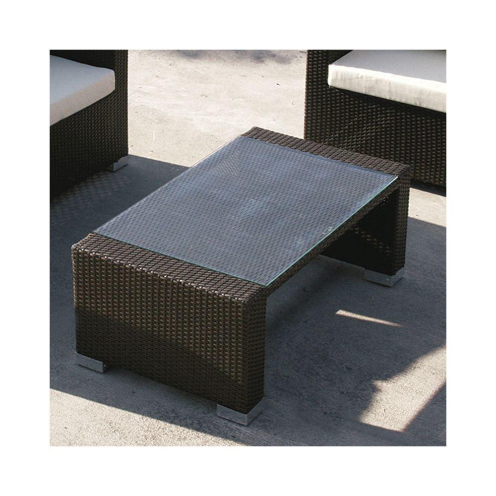 Nouvomeuble Table basse de jardin en résine tressée marron ADONIS