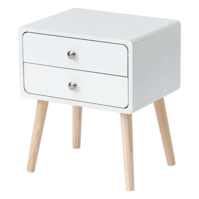Ltppstore - JEOBEST®Table de chevet simple scandinave avec tiroirs coulissants Table de chevet blanc Ltppstore   - Chevet