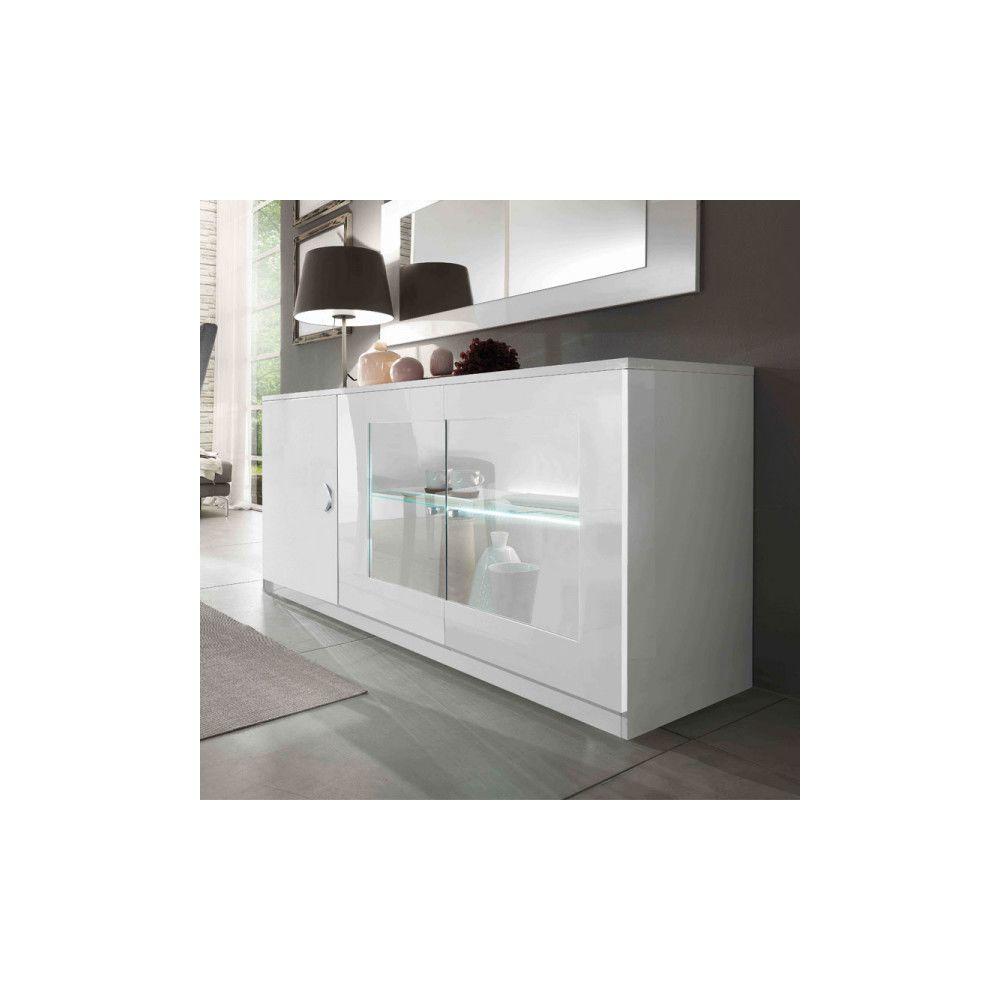 Dansmamaison Buffet 3 portes Blanc à LEDs - POTIRI - L 180 x l 49 x H 85 cm