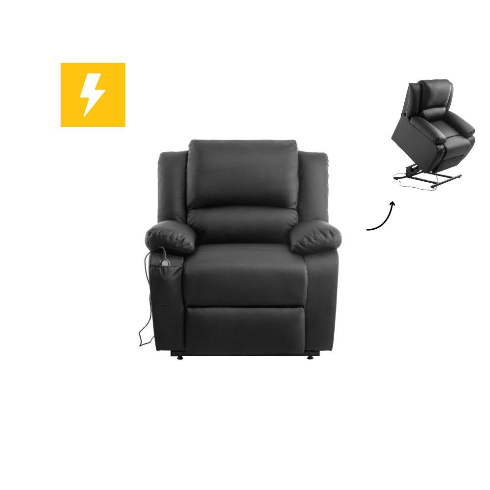 Usinestreet Fauteuil de Relaxation Releveur électrique 1 place en Simili DETENTE - Couleur - Noir