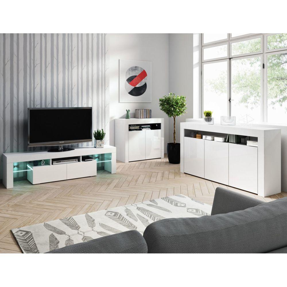 Baltic Meubles Ensemble meubles de salon blanc - 3 meubles - MOINSCHERCUISINE