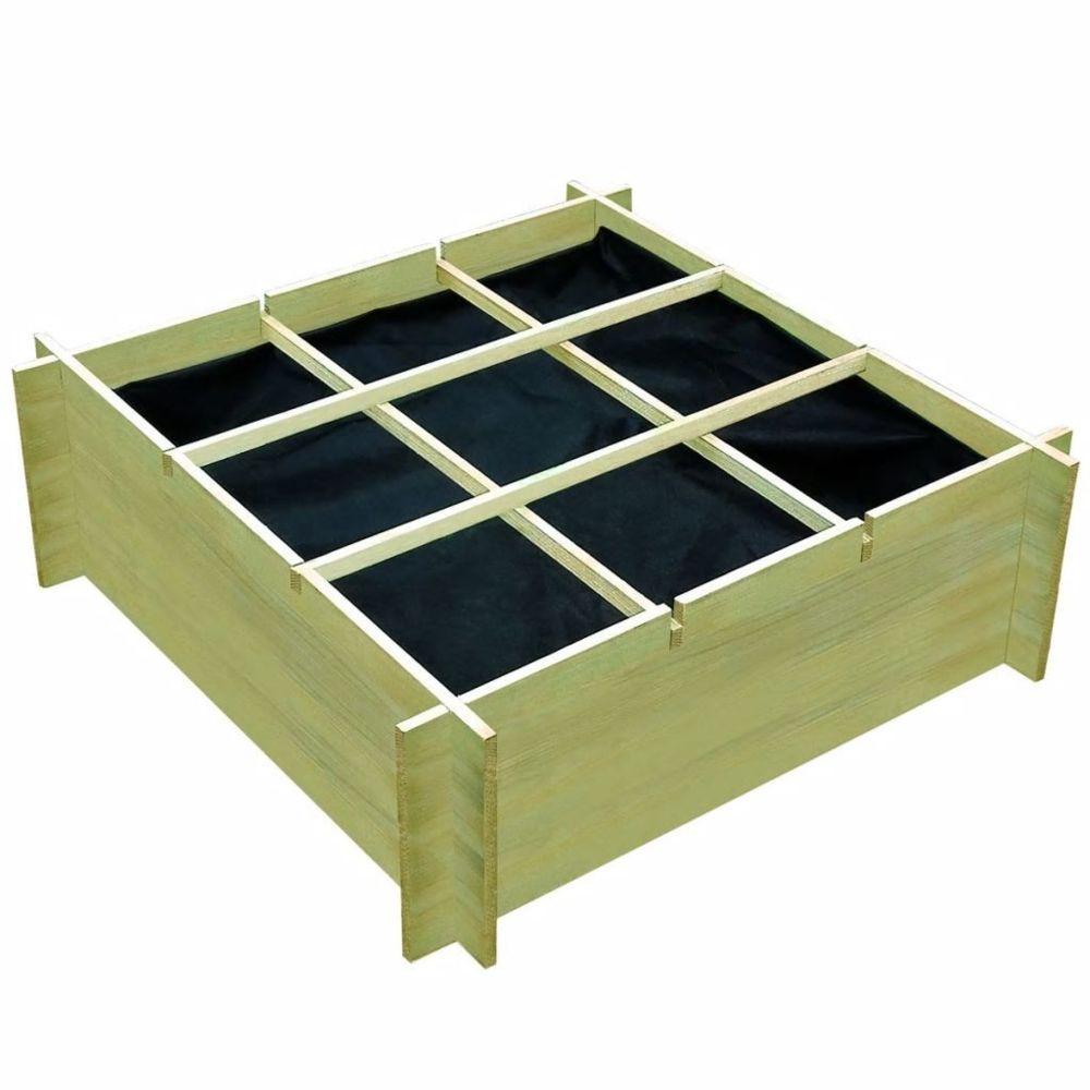 Vidaxl Jardinière pour légumes Bois de pin imprégné 120 x 120 x 40 cm | Vert