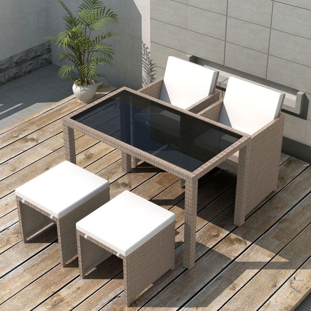 Vidaxl vidaXL Salon de jardin encastrable avec coussins 5 pcs Rotin Beige
