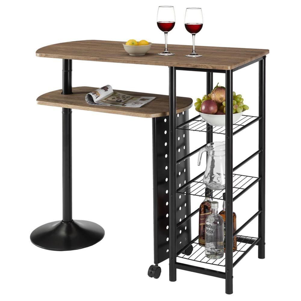 Idimex Table haute de bar JOSUA mange-debout avec comptoir et plateau mobile en MDF décor chêne sauvage 3 étagères et structure