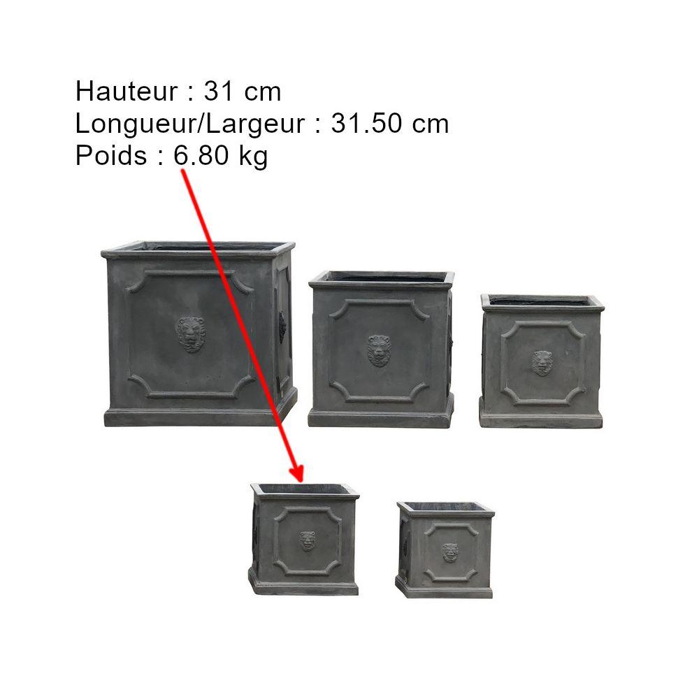 L'Originale Deco Pot Cache Pot Bac Carré Jardiniere Fleurs Plantes Arbres Tête Lion 31 cm x 31.50 cm