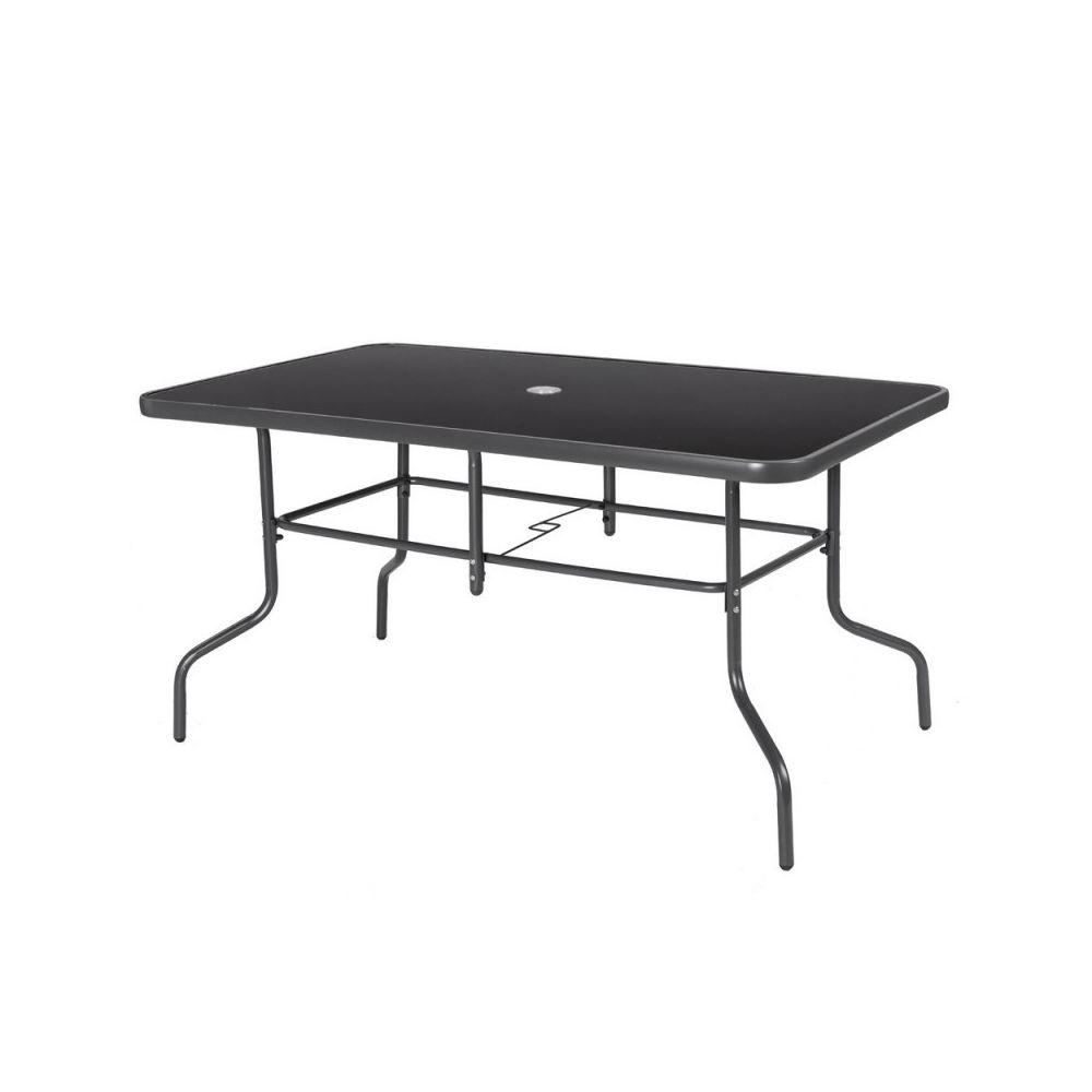 Ma Maison Mes Tendances Table de jardin 140cm en acier gris et verre noir MAELLA - L 140 x l 85 x H 72