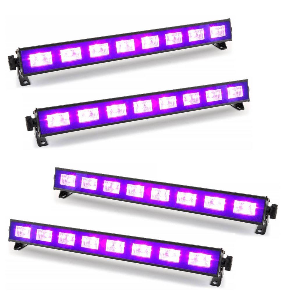 Ibiza Light Pack 4 Barres à LED FLUO UV 9x1W se reflète sur tissus blanc