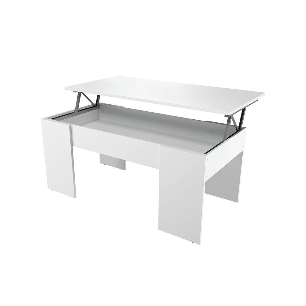 Usinestreet Table basse GOTHAM avec plateau relevable et rangement - Couleur - Blanc