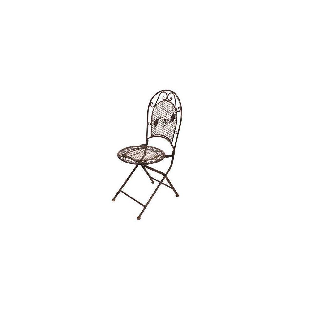 L'Héritier Du Temps Chaise de Jardin Siège Fauteuil Assise Pliante de Salon de Jardin Intérieur Extérieur Fer Marron 41x51x96cm