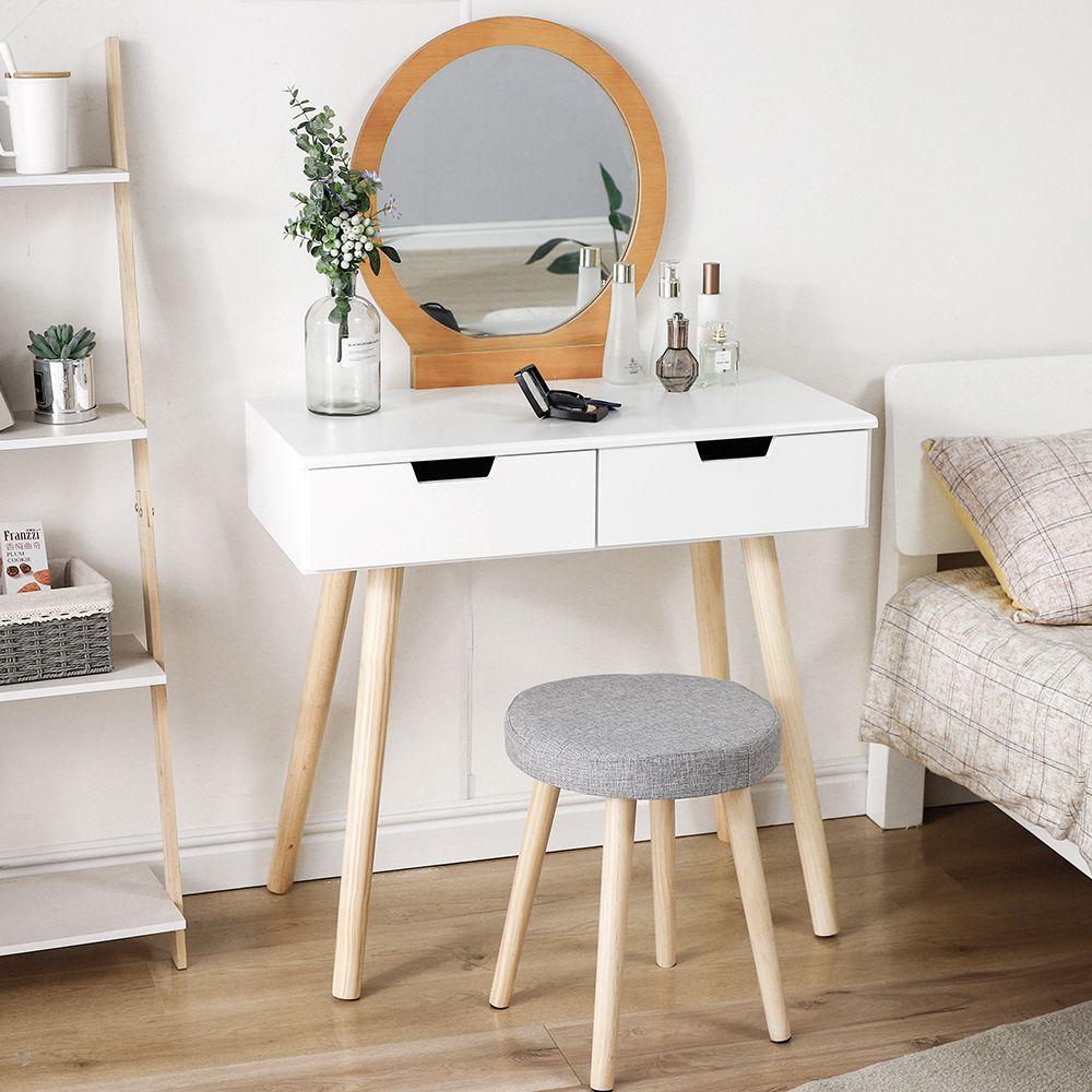 Jeobest Coiffeuse Moderne, Table de Maquillage L 80 x H 128 cm Miroir rond 2 Tiroir, Bois et blanc