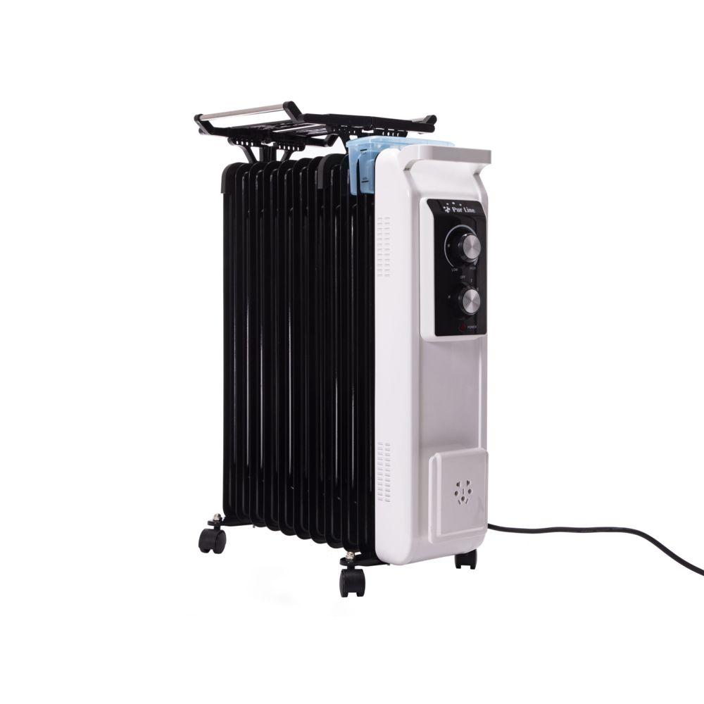 Purline radiateur à huile avec corde à linge et bol d'humidificateur 2800W blanc noir