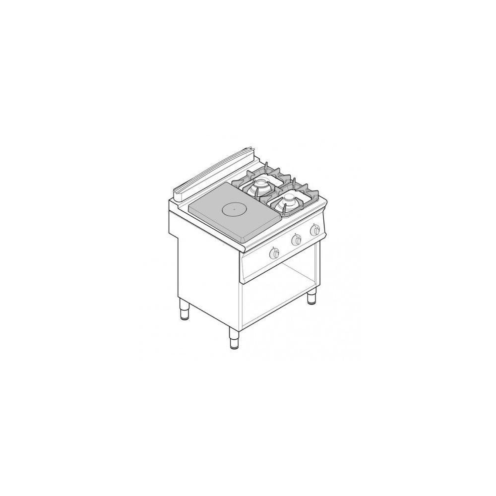 Materiel Chr Pro Fourneau plaque coup de feu - top 2 feux vifs gaz et 1/2 plaque coup de feu sur placard ouvert - gamme 700 - Tecnoinox -
