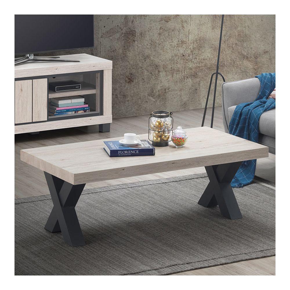 Nouvomeuble Table basse 130 cm couleur bois naturel EURYDICE