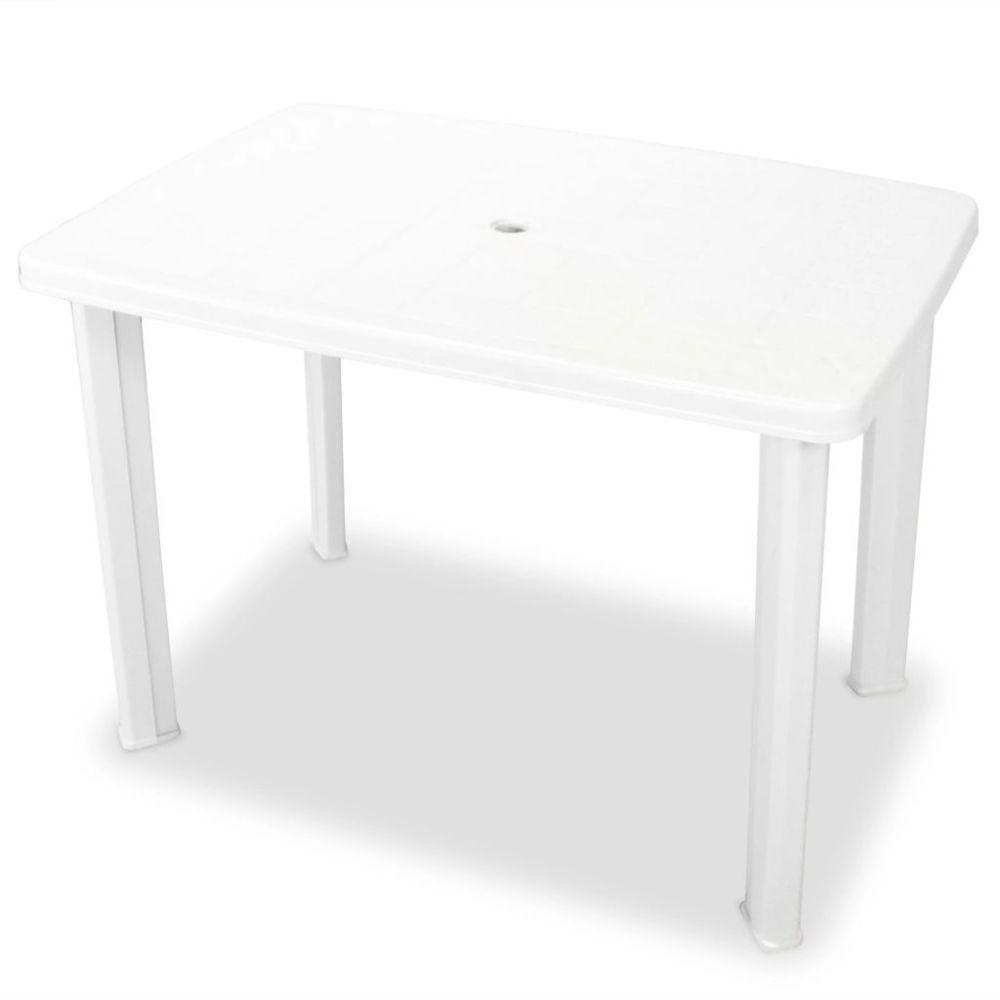 Vidaxl Table de jardin 101 x 68 x 72 cm Plastique Blanc | Blanc