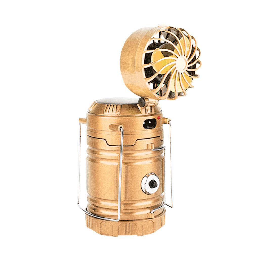 Generic Extérieur multi-fonction solaire rechargeable Fan LED Camping Lumière lampe de poche YE