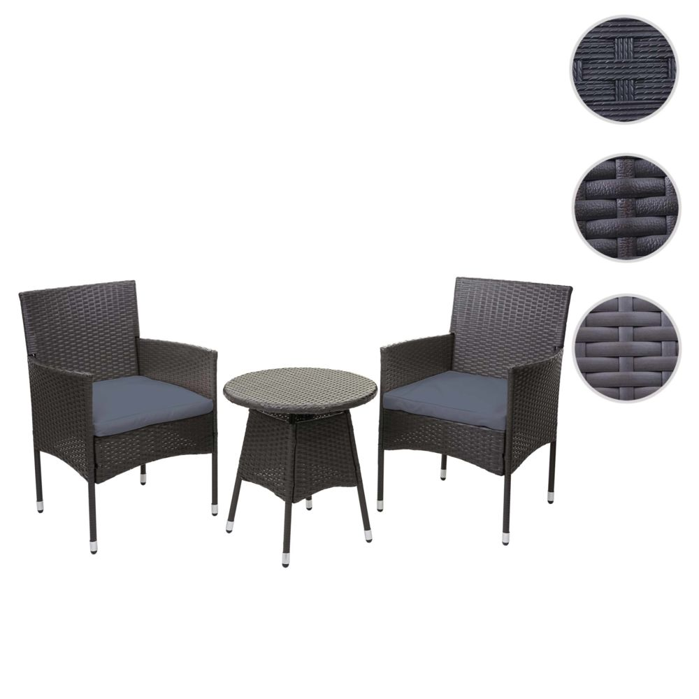 Mendler Ensemble de balcon en polyrotin HWC-G27, garniture de jardin, 2x fauteuil+table ~ gris, coussin gris
