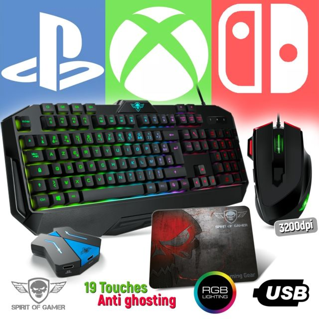 Spirit Of Gamer - Pack Clavier Pro-K8, souris RGB et tapis PRO pour PS4, XBOX ONE, SWITCH - Convertisseur inclus - Clavier Souris Spirit Of Gamer