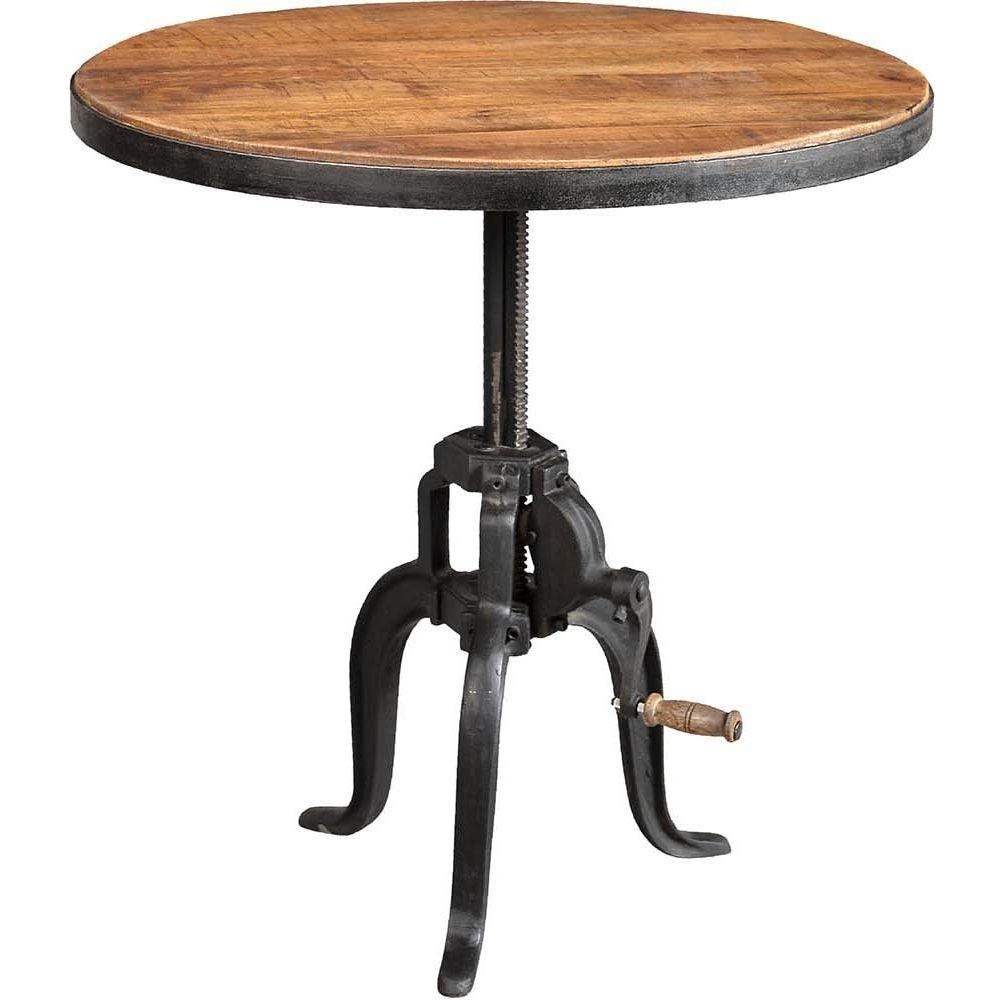 Antic Line Creations Table ronde fer forgé et bois avec manivelle