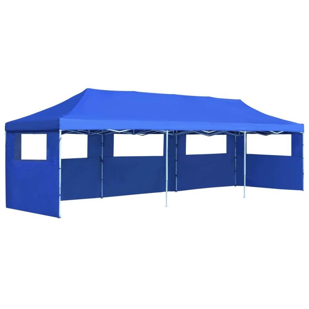 Vidaxl vidaXL Tente de Réception Pliable 5 Parois 3x9 m Bleu Pavillon Tonelle Jardin