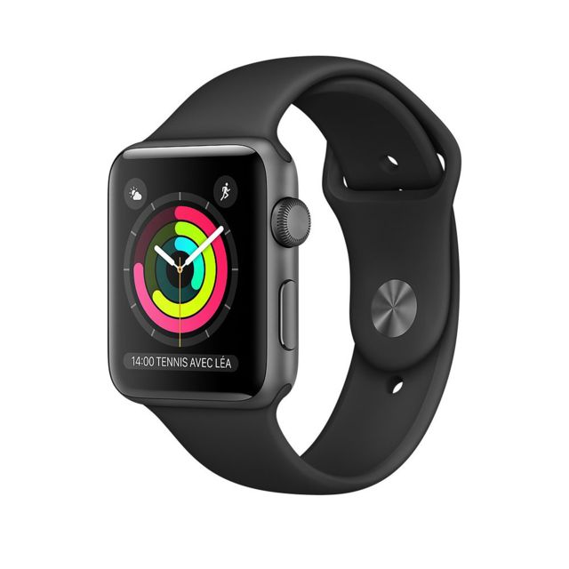 Apple - Watch 2 - 42mm - Alu Gris / Bracelet Sport Noir - Objets connectés reconditionnés