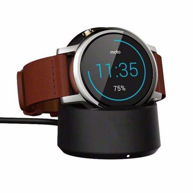 marque generique - Moto 360 Watch Charger Qi Wireless Charging Cradle Dock for Motorola Mobility Moto 360 1st and 2nd Gen Smart Watch Charger Stand (noir) - Chargeur secteur téléphone