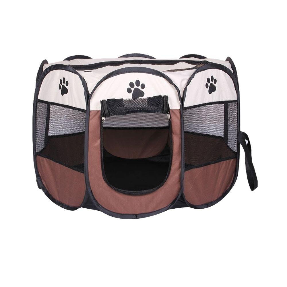 Wewoo Tente de chien imperméable à café l'eau de tissu d'Oxford de mode pliable clôture extérieure d'animal familier octogonal