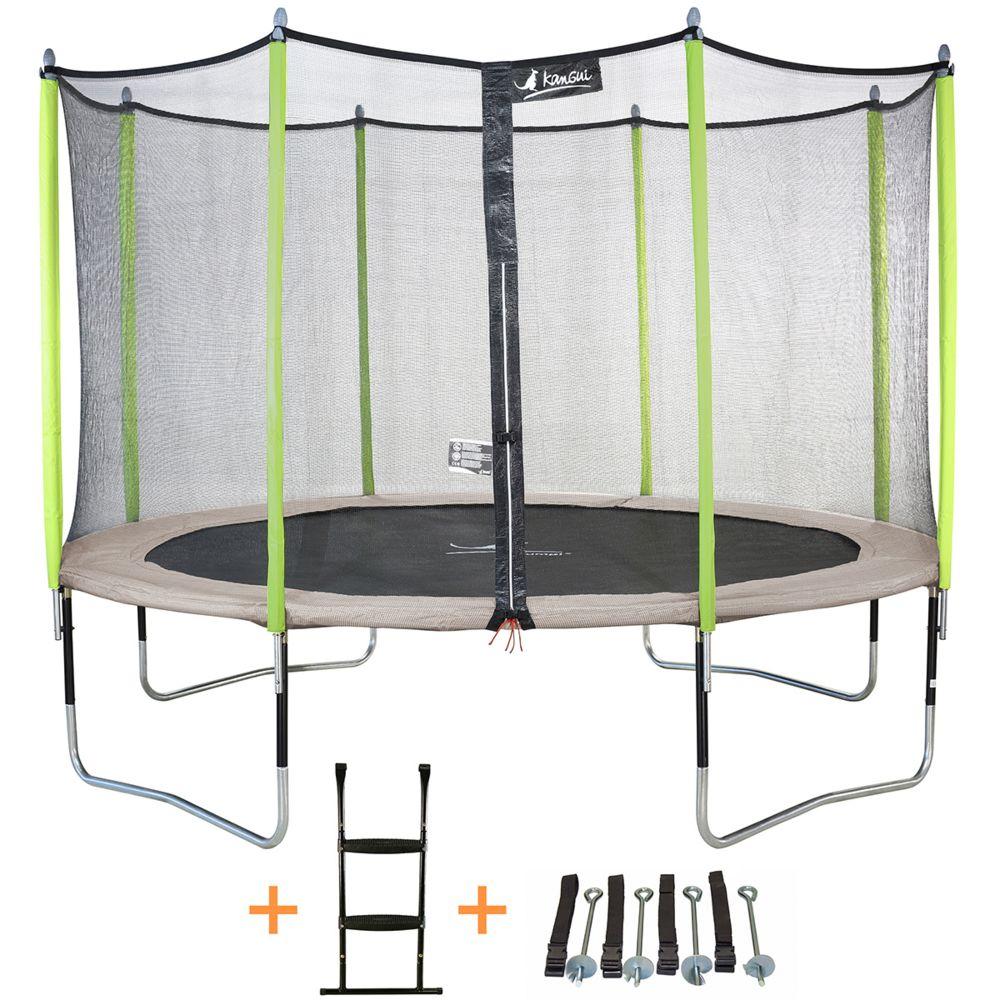 Kangui Kangui - Trampoline de jardin 426 cm + filet de sécurité + échelle + kit d'ancrage JUMPI Taupe/Vert 430