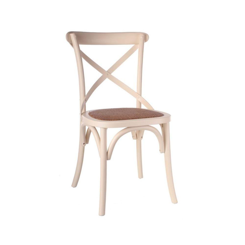 Ma Maison Mes Tendances Lot de 2 Chaises en orme crème et assise tressée IRÉNÉE - L 46 x l 42 x H 87