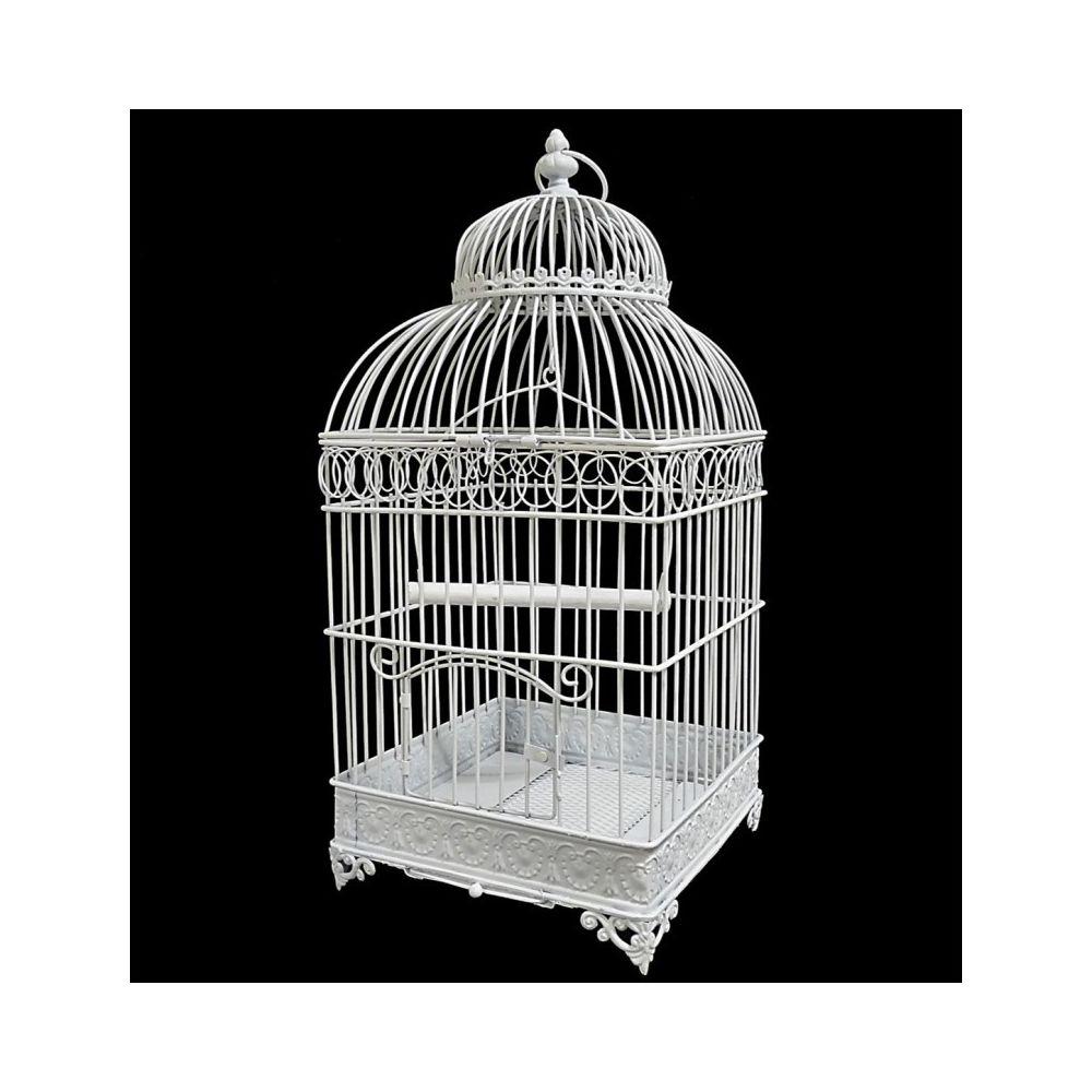L'Héritier Du Temps Petite Cage à Oiseaux de Jardin Intérieur Extérieur Carrée en Fer Patiné Blanc 20,5x20,5x45,5cm