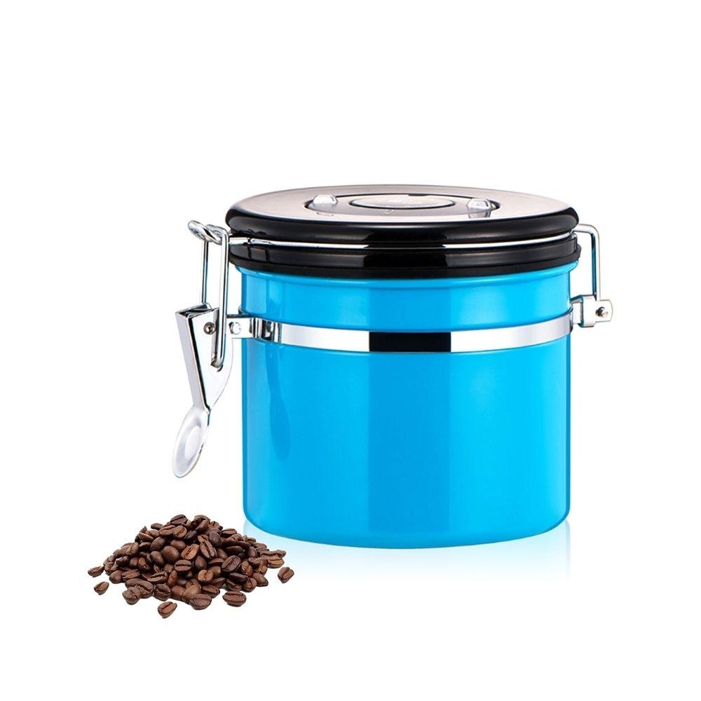 Wewoo 800ml en acier inoxydable scellé café et bleu aliments grains conteneur de stockage de haricots avec intégré CO2 soupape