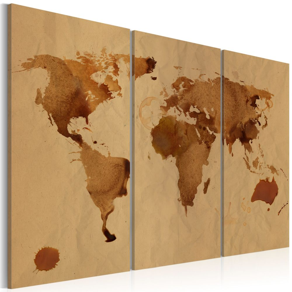 Declina Tableau - Le monde peint avec du café - triptyque