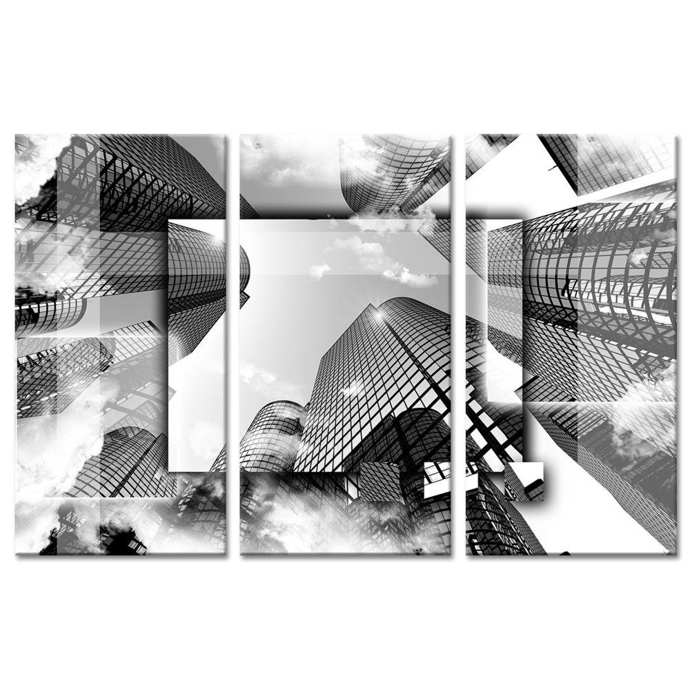 Declina Tableau design buildings en noir et blanc - Tableau triptyque