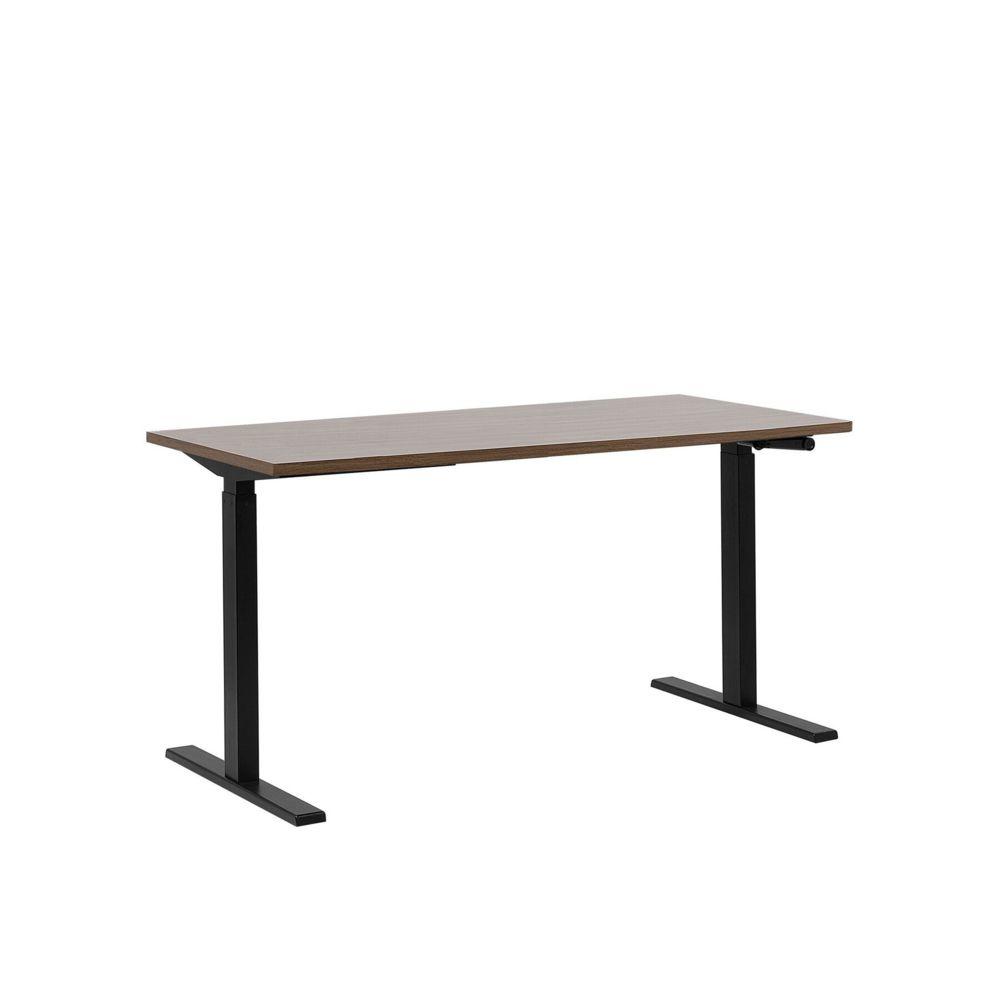 Beliani Beliani Table à hauteur réglable plateau marron 160 x 72 cm et structure noire DESTIN II - marron