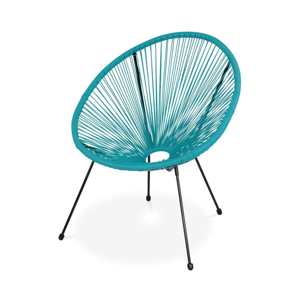 Alice'S Garden Fauteuil ACAPULCO forme d'oeuf - Turquoise - Fauteuil 4 pieds design rétro, cordage plastique, intérieur / extérieur