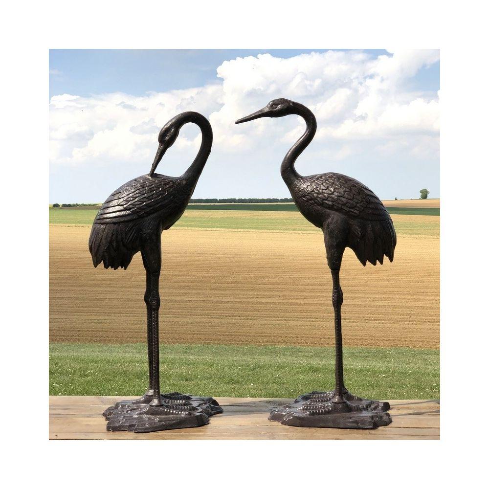Chemin De Campagne Couple de Héron Oiseaux Décoration Jardin d'Extérieur Fonte Alu Marron 75 cm x 35 cm