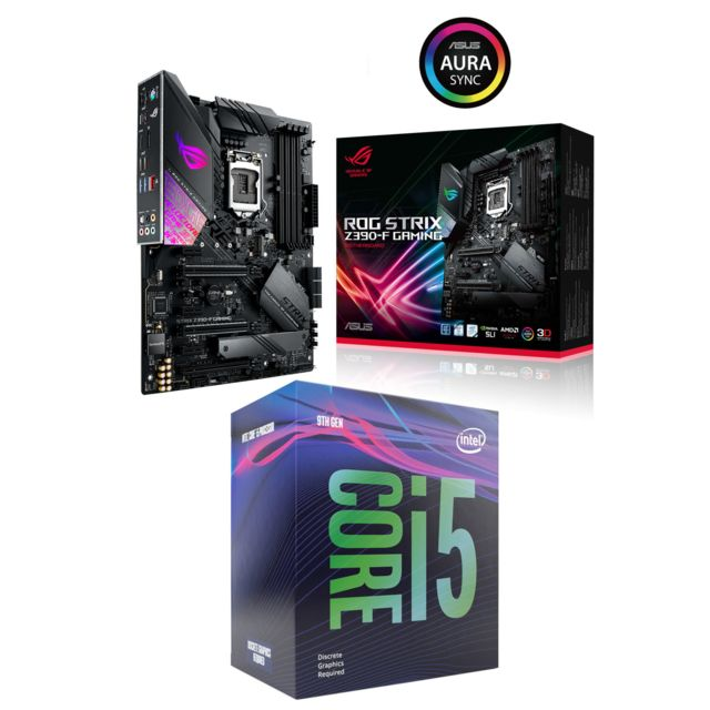Intel - Core i5-9600KF - 3.7/4.6GHz + Intel Z390-F ROG STRIX GAMING - ATX - Kit d'évolution Intel