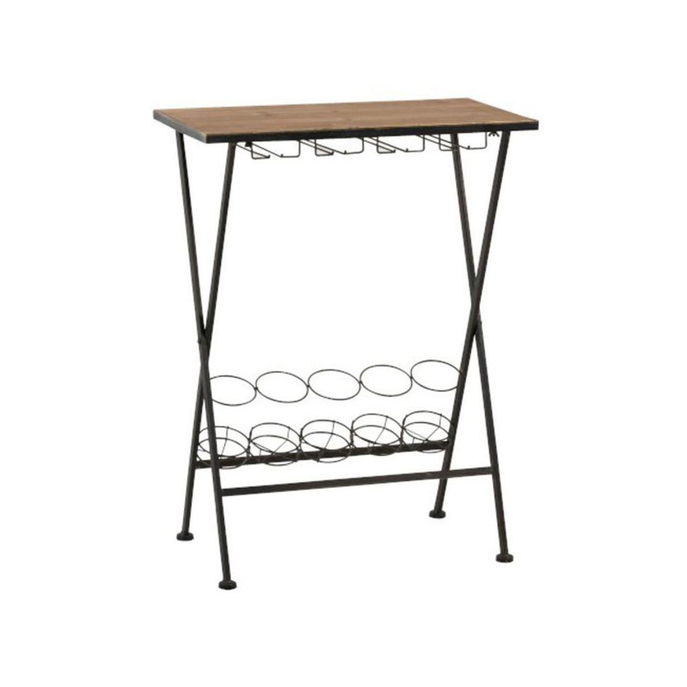 Paris Prix Table & Range-Bouteilles Métal Bistro 65cm Noir