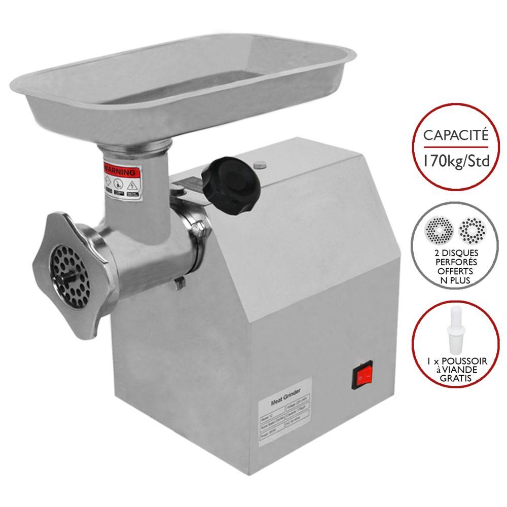 Kukoo Hachoir à Viande Électrique Commercial Boucher Machine à Saucisse 850W Inox