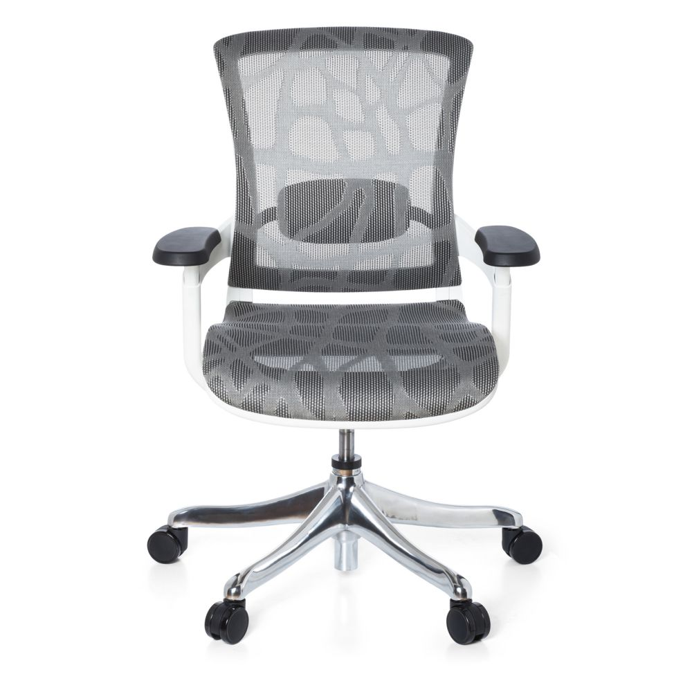 Hjh Office Siège de bureau SKATE STYLE, assise et dossier design en tissu maille gris / cadre blanc hjh OFFICE