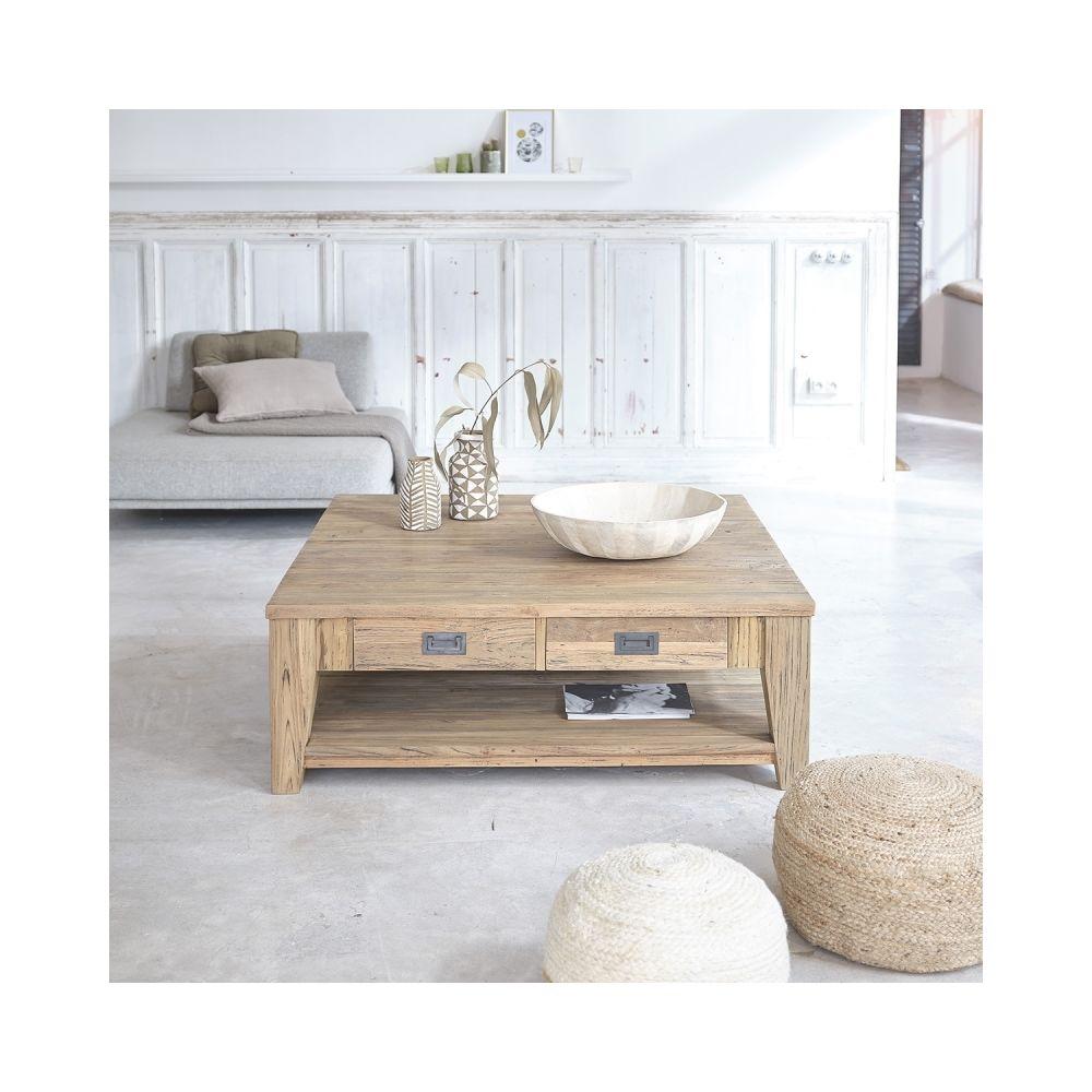 Bois Dessus Bois Dessous Table basse carrée en bois de teck recyclé double plateau 120