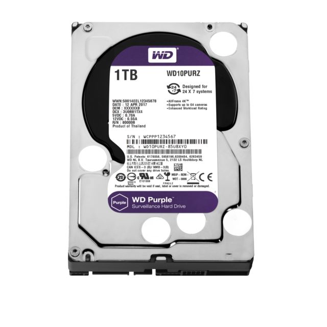 Western Digital - WD PURPLE 1 To - 3.5'' SATA III 6 Go/s - Cache 64 Mo - Violet - Disque Dur interne