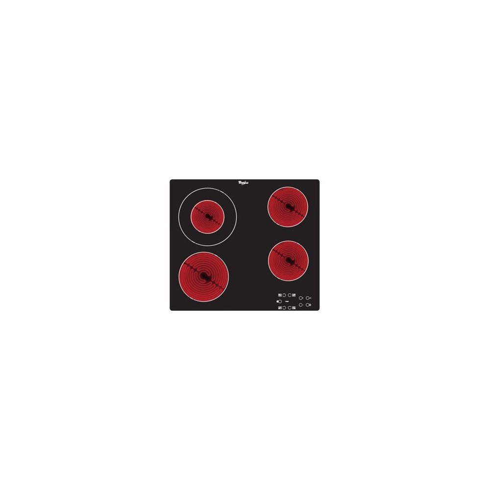 whirlpool whirlpool - table de cuisson vitrocéramique 4 feux 6200w noir - akt8130ne