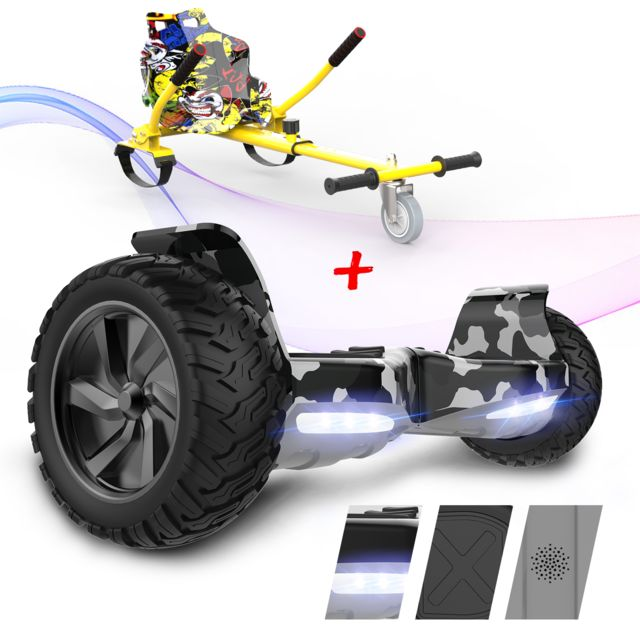 "Evercross - EVERCROSS Hoverboard Overboard Gyropode Tout Terrain 8.5"""",Self-Balancing Scooter Hummer SUV, 700W Camouflege+Hoverkart Hip-Hop - Gyropode, Hoverboard"