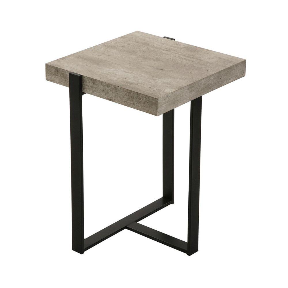 Pegane Table d'appoint effet bois en métal noir - L 40 x l 40 x H 55 cm - PEGANE -