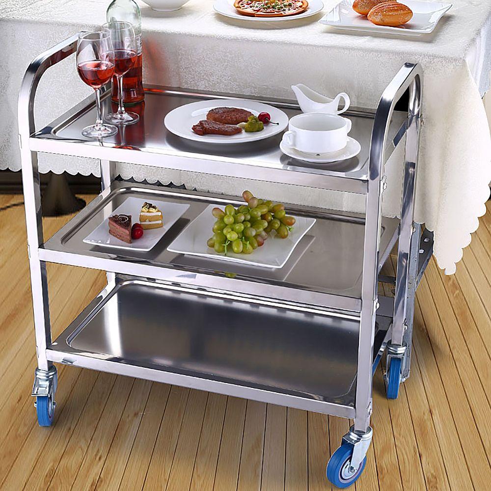 Jeobest Chariot de Service Desserte à Roulettes Stockage Roulant de Cuisine 3 plateaux Professionnel Inox