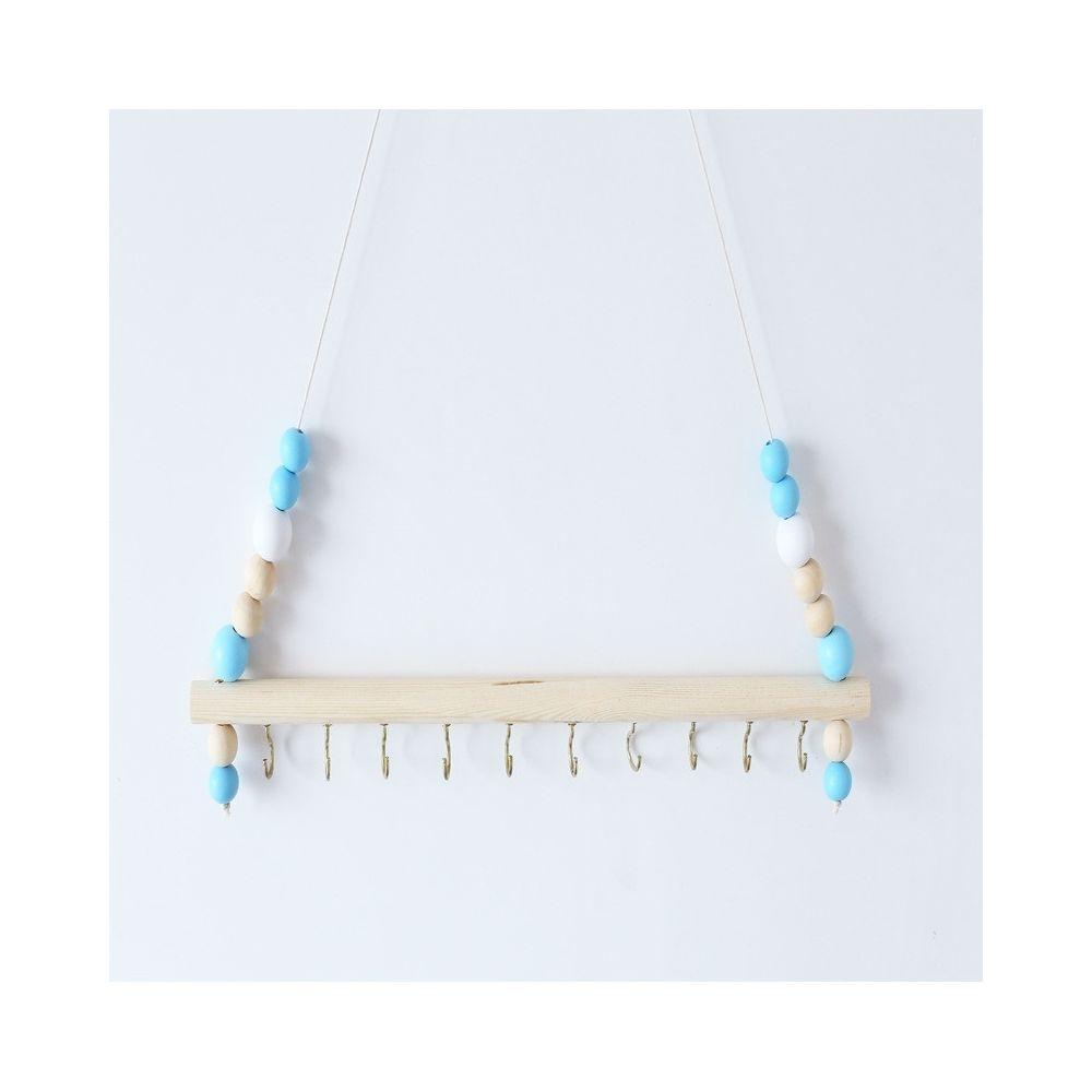 Wewoo Bois couleur macarons perles clip de stockage de bijoux crochet en fer bleu